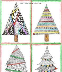 "Whimsical Zentangle® Inspired ""Four Christmas Trees"" finished A… Christmas Tree Art, Christmas Doodles, Colorful Christmas Tree, Christmas Drawing, Christmas Tree Zentangle, Winter Art Projects, Christmas Projects, Doodles Zentangles, Zentangle Patterns"