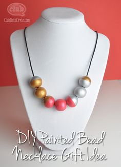 painted bead statement necklace