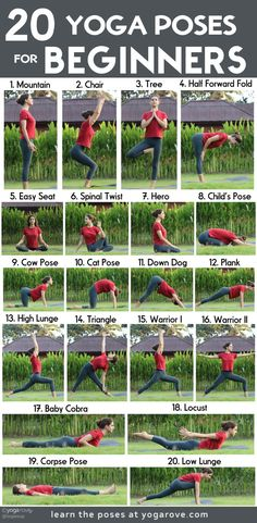 These are the best 20 beginner yoga poses to start practicing today. Such an easy pay to move your body and feel good. Bikram Yoga, Iyengar Yoga, Ashtanga Yoga, Yin Yoga, Yoga Poses For Two, Partner Yoga Poses, Easy Yoga Poses, Weights For Beginners, Pilates For Beginners