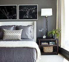 Love this soothing, grey bedroom. Paint color for Master Bedroom  Benjamin Moore ~ Kendall Charcoal HC-166