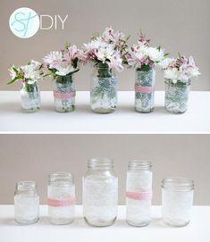 DIY Tutorial: Lace Crafts / DIY | Lace Covered Mason Jars - Bead&Cord