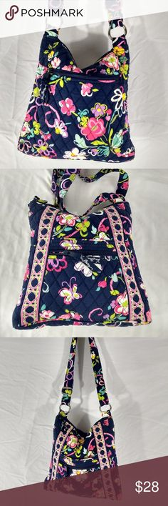 "VERA BRADLEY Floral Tote Cotton Abstract Blues New old stock tote.  Was not used and shows no wear.  Heavy metal rings, quality washable cotton bag with vibrant colors from Vera Bradley.  MEASURES:  11 X 11 X 2 with a 14"" strap drop.  Beautiful little bag.  Poshmark Bin #3 (SP) Vera Bradley Bags Totes"