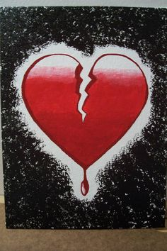 another acrylic painting Bleeding Broken Heart Broken Heart Pictures, Broken Heart Drawings, Broken Heart Tattoo, Shattered Heart, Mother Art, Heart Painting, Photo Heart, Diy Art, Something To Do
