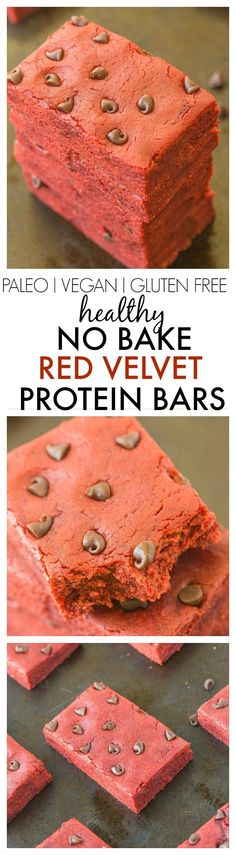 Healthy No Bake Red Velvet Protein Bars- 10 minutes and 1 bowl to make these extra chewy, soft and delicious snack bars- No added sugar too! Perfect for Valentine's day too!{vegan, gluten free, paleo,(Low Carb Protein Glutenfree)