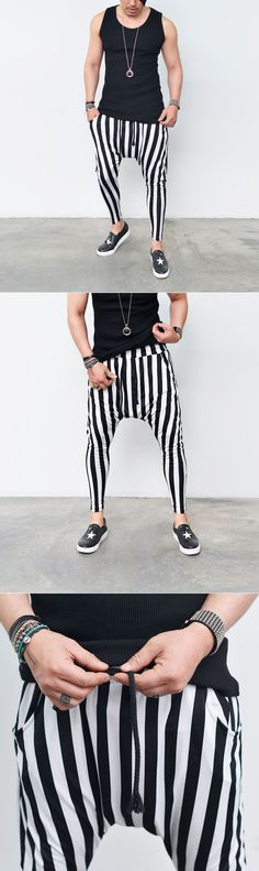 Bottoms :: Sweatpants :: Stripe Summer Ankle Baggy-Sweatpants 207 - Mens Fashion Clothing For An Attractive Guy Look