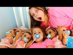 Kids Pretend Play with Baby Dolls feeding and morning routine video - vTomb Baby Laughing Video, Funny Babies Laughing, Toddler Videos, Kids Videos, Cute Baby Dolls, Cute Babies, Letter B Crafts, Swing And Slide, Doll Videos