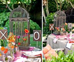 Garden Wedding Theme- would be even more cute with a canary singing in the bird cage ;)