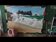 how to paint the beach, waves and birds Porthcurno Cornwall - YouTube