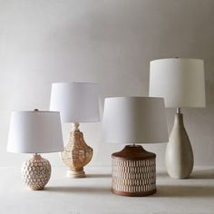 """For an earthy, arty effect that looks great whether on or off, our mango wood lamp is ideal. With its surface of inset """"slices"""" and freeform global designs, this is the lamp that brings visual excitement to any room. Decor, Lamp Light, Decor Lighting, Wood Lamps, Lamp, Modern Table Lamp, Ceramic Lamp Base, Cement Table, Living Room Furniture"""