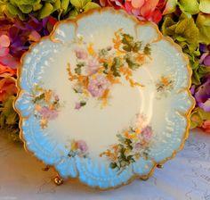 Beautiful Antique Guerin Limoges Porcelain Plate Pink Floral ~ Gold Gilt #GuerinLimoges