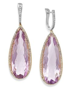 Inspire your look with feminine color. These precious earrings feature pear-cut amethyst (30 ct. t.w.) highlighted by round-cut diamonds (3/4 ct. t.w.). Crafted in 14k gold and 14k white gold. Approxi