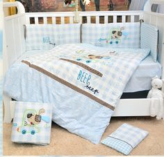 99.00$  Watch here - http://ali2la.worldwells.pw/go.php?t=32766708387 - Promotion! 7PCS embroidered Baby Cot Bedding Set Boy Girl Kids Crib Bumper Baby Cot Sets Baby Bed ,(2bumper+duvet+sheet+pillow)