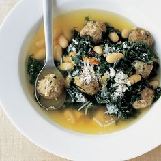 You can use spinach or escarole in this soup as well.