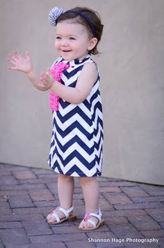 4th of July Ready to Ship Navy Chevron Dress with by BBELLECOUTURE, $46.95