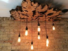Customized Great Live Edge #Slab Lamp with Edison Light Bulbs #Chandelier #lamp #modern