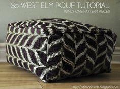 West Elm Pouf Tutorial - One fabric piece, SUPER easy!