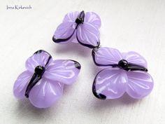 BUTTERFLIES lilac lampwork beads 3 artisan by InnaKirkevich