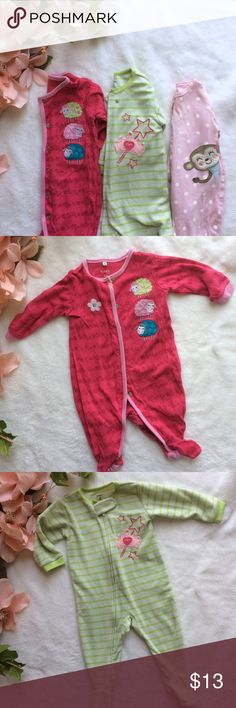 6 month girl sleeper set Pink pajamas with sheep, green stripe pajamas with princess theme, pink polka dot monkey pajamas. All footie pjs. ✖️Offers are ALWAYS welcomed, and if you see anything else you like feel free to make an offer on a bundle! ✖️ Carter's Pajamas Pajama Sets