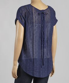 Love this Navy Lace Cape-Sleeve Top - Plus by Mine Too on #zulily! #zulilyfinds