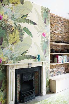 Wallpaper above fireplace Stripe Design Group