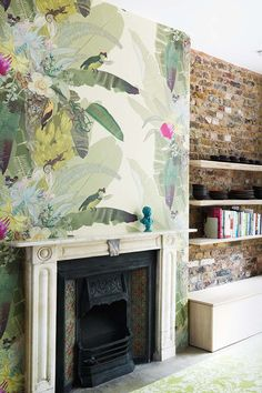 Wallpaper above fireplace Stripe Design Group