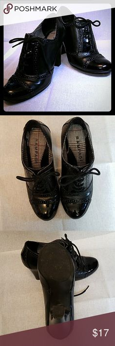 """Black 20's Inspiried Lace Up Heeled Oxdords. These shoes are a mix of patent and flat black leather with Oxford/Wingtip accents.  Heels are 31/2"""". And sadly to large for me now. Some light wear. Still in excellent condition. Tried to show wear in last pic(on the inside side of shoe so not visible when worn) Some light stuffing on heels but since they are patent it's really hard to see. Lots of lovely wear left in these. Rampage Shoes Heels"""