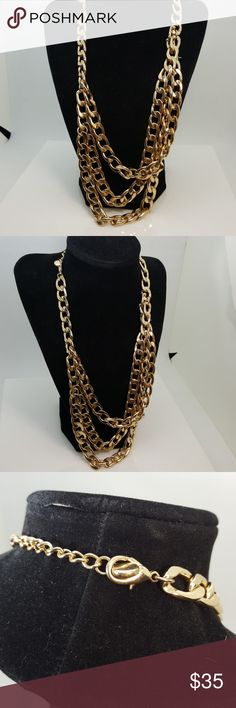 RARE Runway couture Gold Clr layered CHUNK Gold clad layer necklace statement necklace Jewelry Necklaces