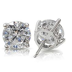 Round Cubic Zirconia Stud Earrings With Scroll Setting