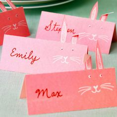 These oh-so-cute paper place cards are perfect for a casual Easter brunch: http://www.bhg.com/holidays/easter/decorating/easter-table-setting-ideas/?socsrc=bhgpin041814paperbunnyplacecards&page=7