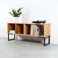Wood Furniture, Furniture Design, Record Player Stand, Vinyl Record Storage, Lp Storage, Vinyl Record Cabinet, Vinyl Record Stand, Vinyl Record Collection, Storage Design