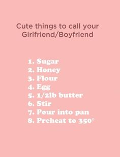cute things to call your boyfriend girlfriend