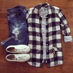Buffalo Plaid Shirt, Striped Tee, Destroyed Boyfriend Jeans, Jack Purcell Converse Sneakers | #casualstyle #weekendwear #liketkit | http://www.liketk.it/S564 | IG: @whitecoatwardrobe