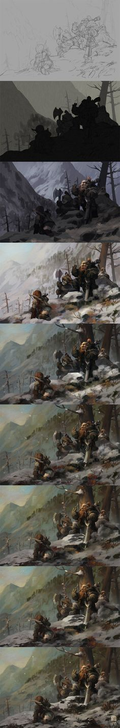 The painting process of Game of the Hunters by 6kart on deviantART