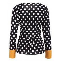 Scoop Neck Polka Dot Patchwork Sleeve T-Shirt - BLACK L