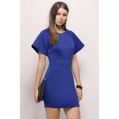 Tobi Keri's Way Bodycon Dress ($52) ❤ liked on Polyvore featuring dresses, cobalt, blue body con dress, bodycon dress, body con dress, sleeve bodycon dress and neoprene dress