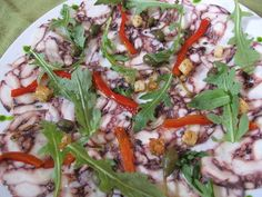 Salami, No. It's Octopus Carpaccio from Alessa's Alessandro Pirozzi Octopus Carpaccio, Web Design Packages, Vegetable Pizza, Chicken, Food, Meals, Yemek, Veggie Pizza, Buffalo Chicken