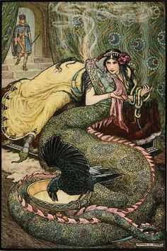 """Marina Lay Upon a Couch and Fondled a Fiery Dragon With Her Right Hand"" illustration by Frank Cheyne Papé (British, 1878-1972), for 'The Russian Story Book' by Richard Wilson, 1916."