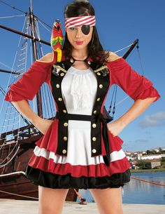 Our sexy plus size Cap'n Shooter Pirate Costume includes a lace front ascot sleeveless dress featuring a tri-color tiered bubble skirt, button accented jacket with keyhole cutout shoulders and (2) two pirate hat shot glasses, red and white striped headband, black eye patch and an inflatable shoulder parrot. This plus size drinking shooter costume is a great way for full figured women to flaunt their curves and take the party wherever you go.