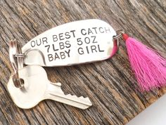 Father's Day Gift from Baby to New Dad Gift from Family Fathers Day Key Ring Best Catch Fishing Lure Birth Announcement Baby's Weight Height