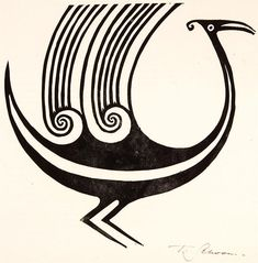 Title: Mythological Bird in the Opihi River Style Artist/creator: Theo Schoon Production date: circa 1954 Medium: linoblock print Dimensions: 337 x 337 mm Jewelry Art, Jewelry Design, Jewellery, Auckland Art Gallery, Collagraph, Pendant Design, Creature Design, Letterpress, Mythology