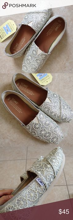 TOMS Classic Silver Crochet Glitter shoes 6Wmn TOMS Classic shoes in Silver Crochet Glitter. Size 6 Women U.S. New with tags, Never been worn. Toms Shoes