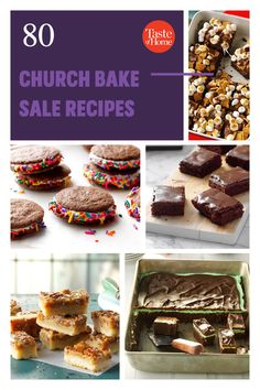 A good old-fashioned church bake sale is hard to beat. These heavenly cookies, bars, breads and pies will inspire you to bake up a few batches of the delicious money-makers at home. Bake Sale Recipes, Bar Recipes, Chocolate Glaze, Chocolate Peanuts, Delicious Cookie Recipes, Yummy Cookies, Strawberry Oatmeal, Pecan Pie Bars, Money Makers