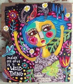 Folk Art Wild Thing Mixed Media  on Etsy, $68.00