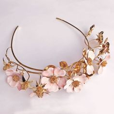 can be made in colours to match bouquet - tulips? Wedding Crowns, Metal Crown, Wedding Types, Bridal Crown, Metal Flowers, Couture Dresses, Flower Designs, Wedding Designs, Metal Working