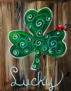 How to paint a shamrock on faux wood background - Step By Step Painting
