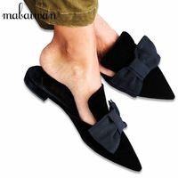 New Fashion Pointed Toe Velvet Women Big Bowtie Mules Shoes Flat Slippers Females Casual Shoes Woman Lady Sweet Slides Flats Mules Shoes Flat, Flats, Smoking Slippers, New Fashion, Casual Shoes, Vogue, Female, How To Wear, Velvet