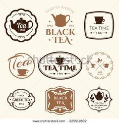 Set of labels on  theme tea. Tradition of tea time. Tea logo.