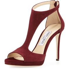 Jimmy Choo Lana Suede T-Strap 100mm Sandal ($905) ❤ liked on Polyvore featuring shoes, sandals, heels, sapatos, bordeaux, suede shoes, jimmy choo shoes, open toe high heel sandals, open toe sandals and high heel platform shoes