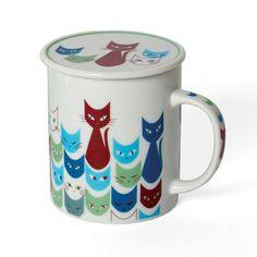 Miya Company Cat Mask Mug With Lid In Blue