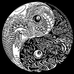Free coloring page coloring_yin_yang_gratuit. Coloring page of Yin & Yang with two dragons